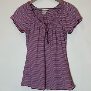 Maurices white and burgundy striped blouse. Size M